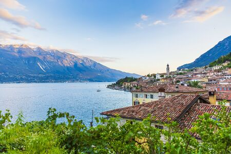 Limone sul Garda village at the lake, during a summer sunset. Popular travel destination.