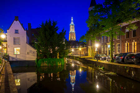 Best of Amersfoort city; historic architecture on old street and bridge at night