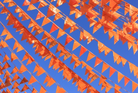 Orange flags  national color of the Netjherlands  photo