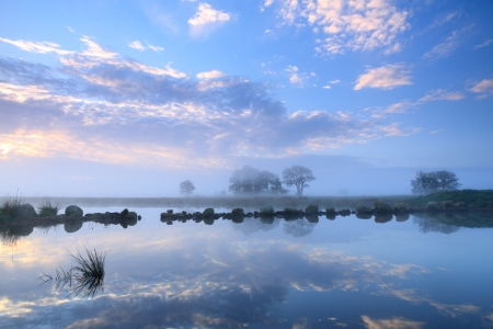 Tranquil sunrise at a lake  photo