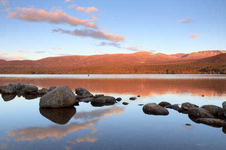 british weather: Lake at the Cairngorms, Scotland  Stock Photo