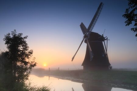 Foggy sunrise in the Dutch countryside  photo