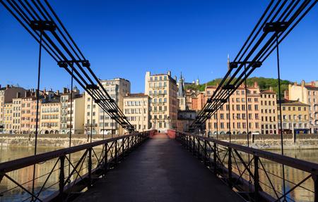 lyon: Passerelle Saint-Vincent over the Saone river and Vieux Lyon in Lyon city. Stock Photo