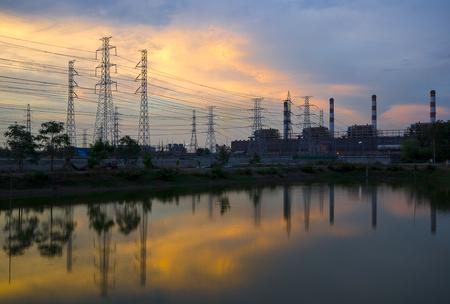 Twilight photo of power plant Stock Photo