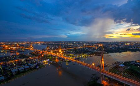 Bangkok  - Beautiful sunset view of Bhumibol Bridge,Thailand