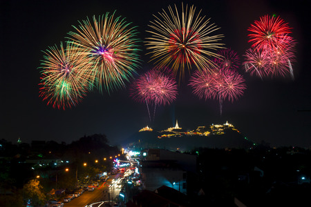 A beautiful fireworks display for celebrations. Stock Photo