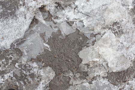 floe: thin, fragile ice floe frozen puddle on the asphalt Stock Photo