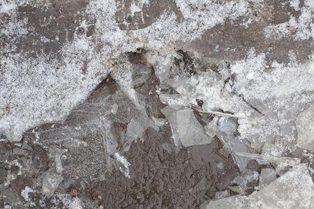 hoarfrost: thin, fragile ice floe frozen puddle on the asphalt Stock Photo