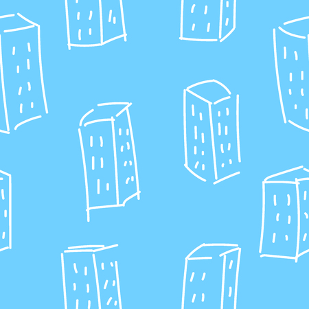 Seamless pattern. Multi-storey houses painted by hand. Illustration