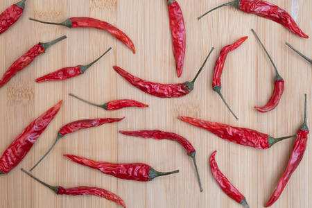Dried red hot chili pepper.