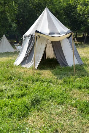 White marching tent of the medieval war.