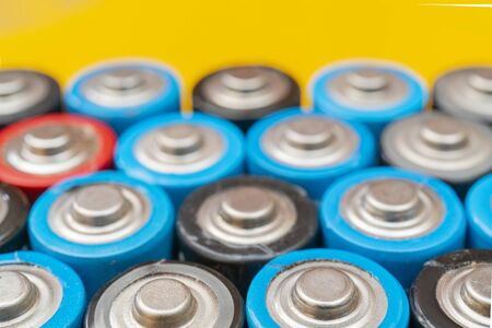 Used batteries. Waste collection and recycling. Environmental Protection. Batteries background.