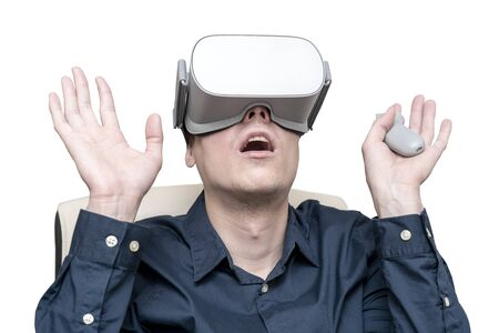 Young man of virtual reality. Innovation and technological advances. Modern technology for business. 版權商用圖片