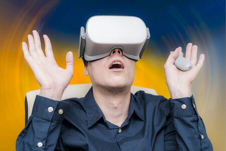 Young man of virtual reality. Innovation and technological advances. Modern technology for business.