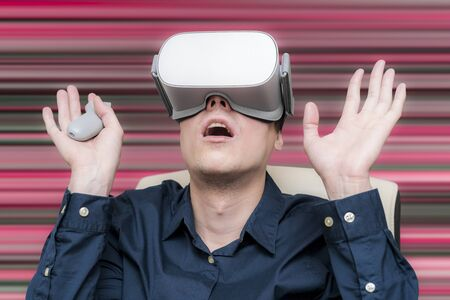 Young man of virtual reality. Innovation and technological advances. Modern technology for business. Stock fotó