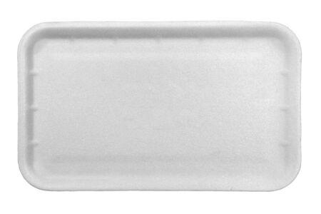 Vassoio di cibo in polistirolo bianco isolato su sfondo bianco. Archivio Fotografico