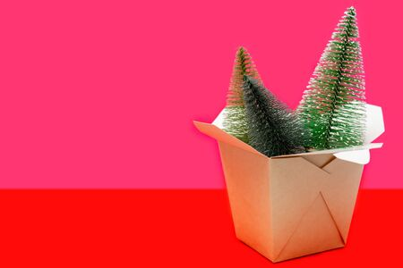 Christmas composition. Wok paper box. Fir-tree. Banco de Imagens