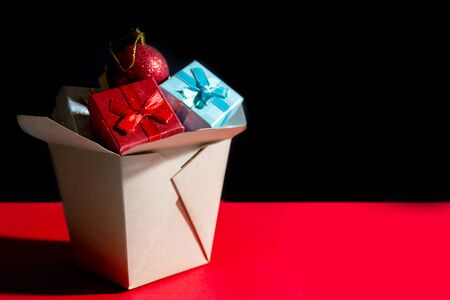 Christmas composition. Wok paper box. Christmas gift boxes.