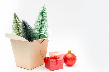 Christmas composition. Wok paper box. Christmas gift boxes. Fir-tree.