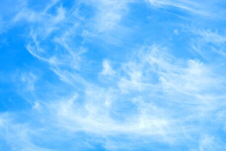 White clouds on blue sky. Natural background Atmospheric phenomenon.