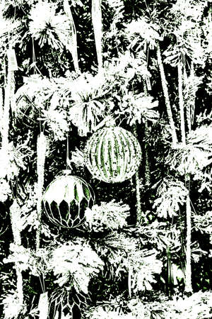 Bright festive background. A festively decorated Christmas tree. Foto de archivo