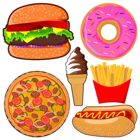 Collection of delicious colorful fast food illustration vector Vecteurs