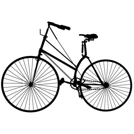 Vintage old bike Silhouette isolated on white background
