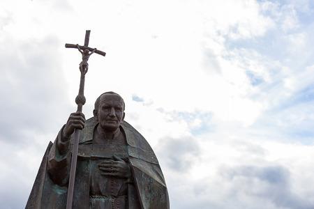 Fatima, Portogallo - 29 ottobre 2018 - Statua in memoria di Papa Giovanni Paolo II Editoriali