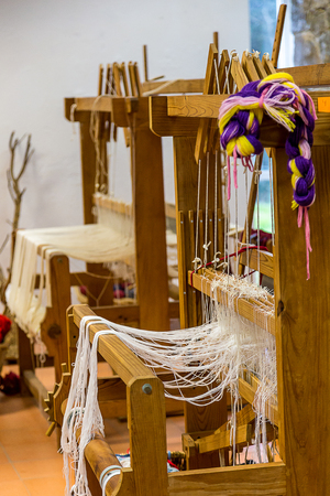 Wooden Weaving Loom's in The Interior of a School