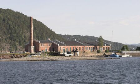 steep holm: Old factory Stock Photo