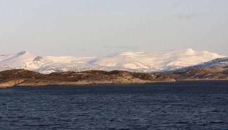 artic circle: White mountain and sea