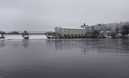 turbin: Power plant in the Norwegian river, Glomma. Stock Photo