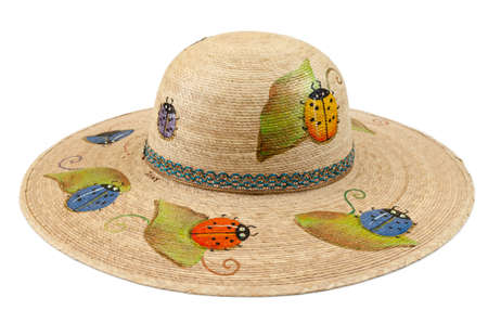 Palm hat, handmade, hand painted, ideal for sunny days.