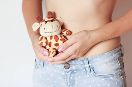 cuddly toy: Young pregnant woman with cuddly toy