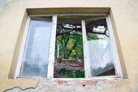 buiding: Old broken window