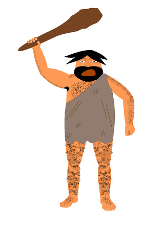 brandishing: Hairy caveman yelling and brandishing a club
