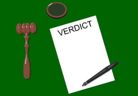 prosecutor: Giudice sul posto di lavoro con un martello, penna e foglio di carta