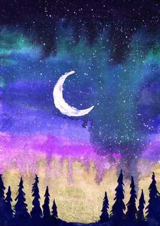 Colorful watercolor illustration of the moon, northern lights and firs.