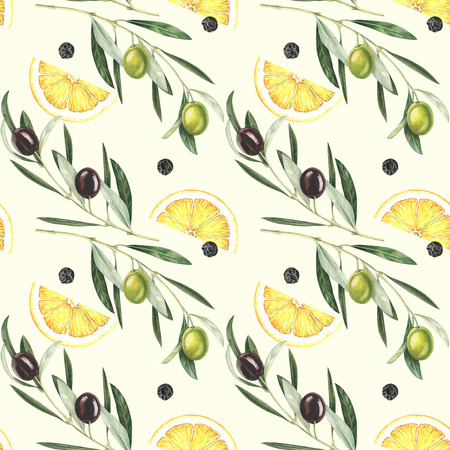 Seamless pattern with olives, lemon slices and black pepper. Hand drawn watercolor illustration.