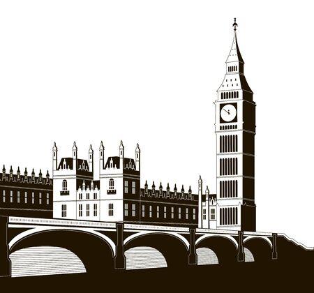 Vector illustration of the Palace of Westminster, Elizabeth Tower (Big Ben) and Westminster Bridge. EPS 10 Векторная Иллюстрация