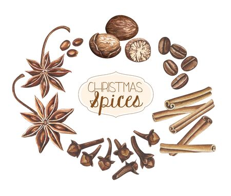 Set of Christmas spices isolated on white background. Hand drawn watercolor illustration. Zdjęcie Seryjne
