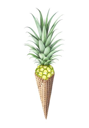 Ice cream with pineapple isolated on white background. Hand drawn watercolor illustration.