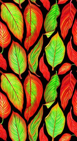 Colorful seamless pattern with tropical canna leaves on black background. Hand drawn watercolor illustration.