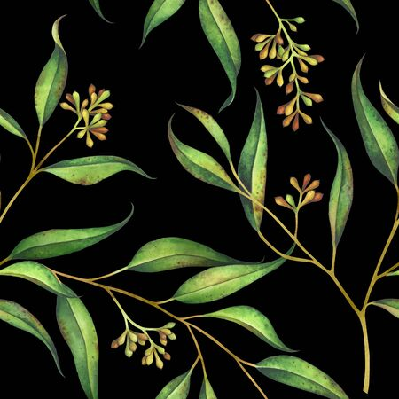 Seamless floral pattern with eucalyptus branches. Watercolor hand drawn illustration.