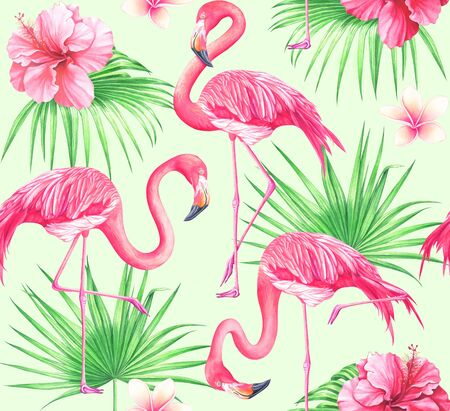Seamless tropical pattern with flowers, palm leaves and flamingos on green background. Watercolor hand drawn illustration.