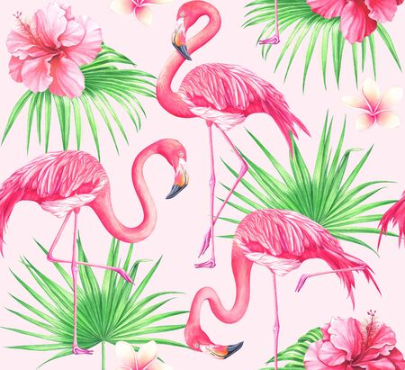 Seamless tropical pattern with flowers, palm leaves and flamingos on pink background. Watercolor hand drawn illustration.