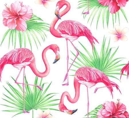 Seamless tropical pattern with flowers, palm leaves and flamingos on white background. Watercolor hand drawn illustration.