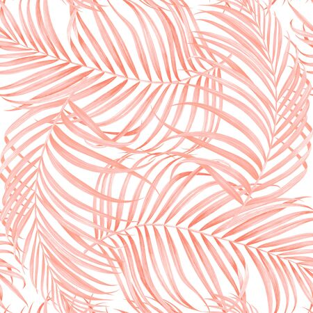 Seamless pattern with palm branches. Watercolor tropical hand drawn illustration.