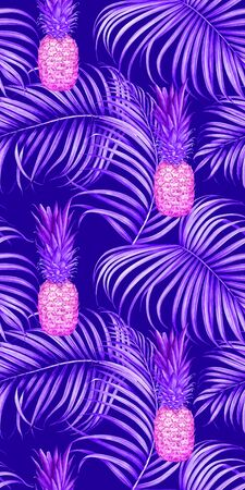 Seamless pattern with pineapples and tropical branches. Hand drawn watercolor illustration. Stock Photo