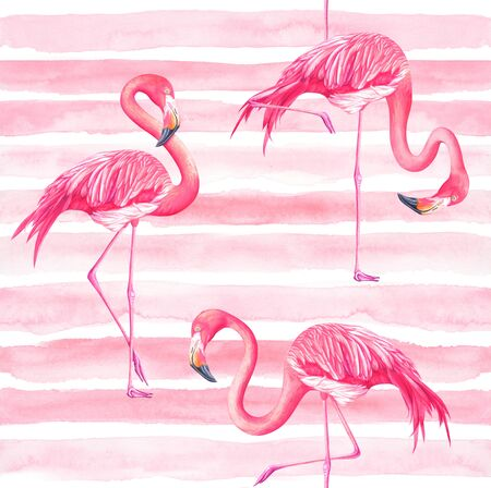 Pink seamles striped pattern with flamingos. Hand drawn watercolor illustration. 스톡 콘텐츠